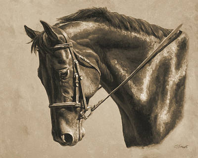 Horse Painting - Focus In Sepia Print by Crista Forest