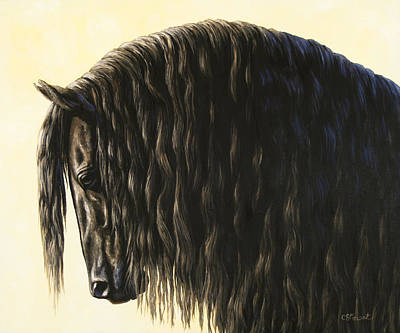 Black Friesian Painting - Horse Painting - Friesland Nobility by Crista Forest