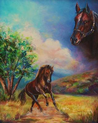 Horse In Action Painting - Horse Painting Running Free by Laurine Baumgart