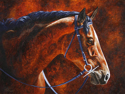 Hanovarian Dressage Horse Painting - Horse Painting - Ziggy by Crista Forest
