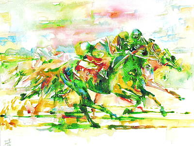 Race Horse Painting - Horse Painting.10 by Fabrizio Cassetta