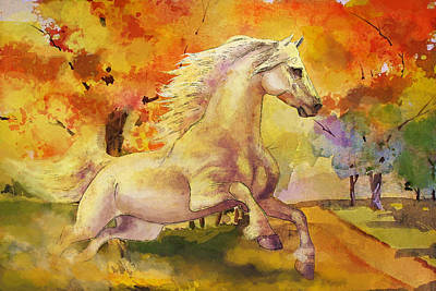 Horse Paintings 003 Art Print by Catf