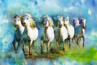 Horse Paintings 005 Art Print by Catf