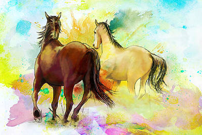 Horse Paintings 009 Art Print by Catf
