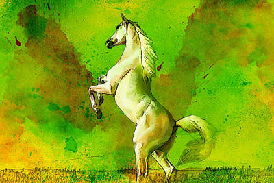 Horse Paintings 010 Art Print by Catf