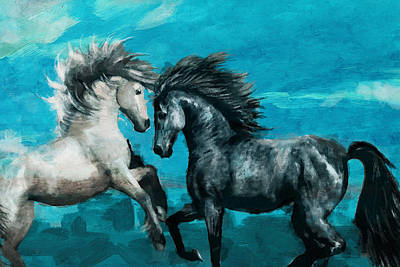 Horse Paintings 011 Art Print by Catf