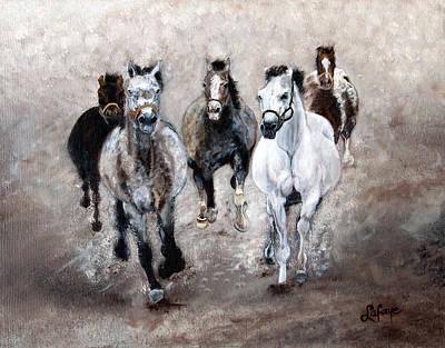 Horse Paintings Horse Art Equine Art Storm's Comin' Art Print by Robert Lafaye