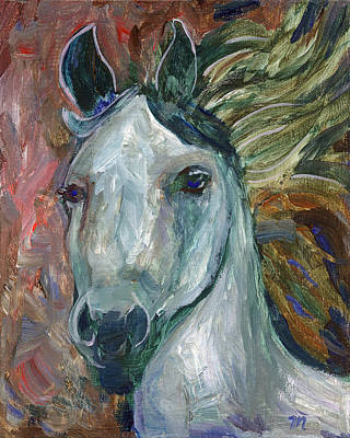 Impressionistic Painting - Horse Portrait 103 by Linda Mears