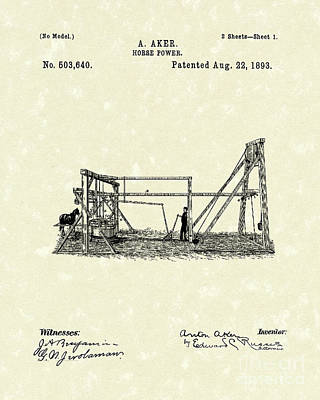 Drawing - Horse Power 1893 Patent Art by Prior Art Design