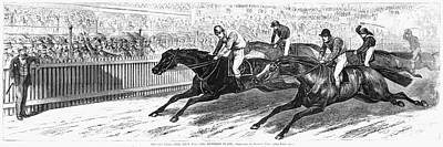 Race Horse Painting - Horse Race, 1870 by Granger