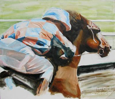 Horserace Painting - Horse Race 3 by Malena Somoza