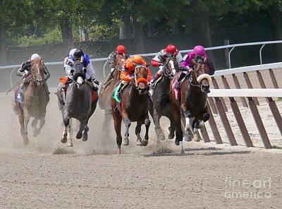Horse Race - Around The Bend - Digital Art Art Print by Anthony Morretta