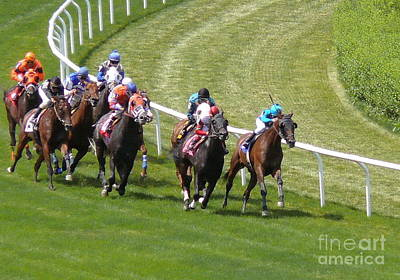 Horse Race Painting - Horse Race At Belmont - Digital Image by Anthony Morretta