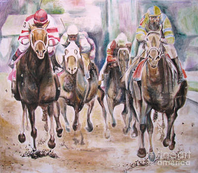 Horserace Painting - Horse Race by Malena Somoza