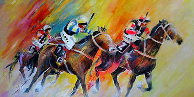 Horse Racing Painting - Horse Racing 05 by Miki De Goodaboom