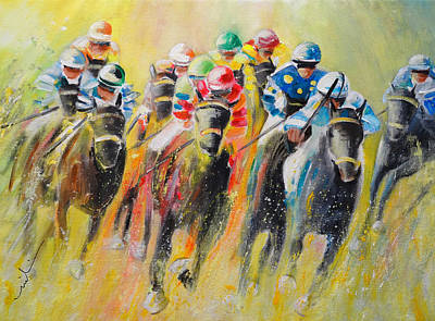 Sports Paintings - Horse Racing 06 by Miki De Goodaboom