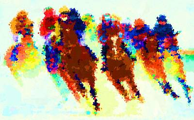 Painting - Horse Racing 1 by Samuel Majcen