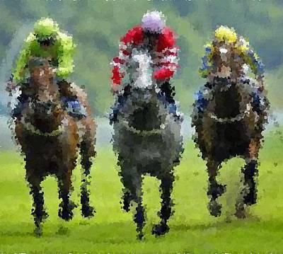 Painting - Horse Racing 2 by Samuel Majcen