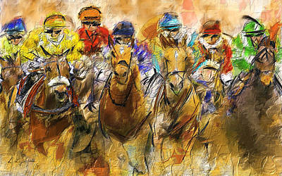 Horse Racing Abstract Art Print by Lourry Legarde