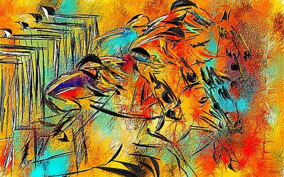 Thoroughbred Horse Painting - Horse Racing Colorful Abstract  by Lourry Legarde
