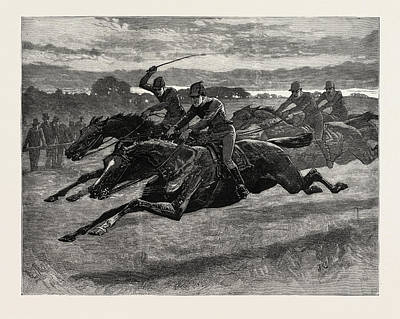 Horse Racing Drawing - Horse Racing, Engraving 1884, Life In Britain, Uk, Britain by Charlton, John (1849-1917), English School