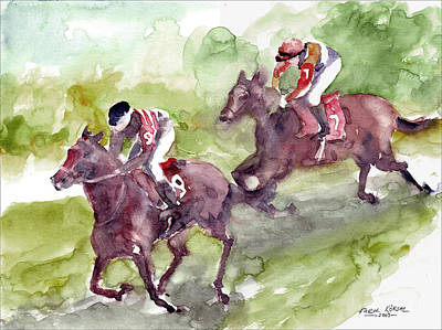 Art Print featuring the painting Horse Racing by Faruk Koksal