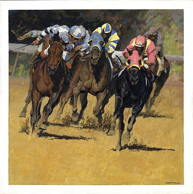 Horse Pastels Painting - Horse Racing Playfellow by Don  Langeneckert