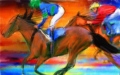 Jockeys Digital Art - Horse Racing II by Lourry Legarde
