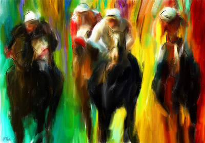 Race Horse Digital Art - Horse Racing IIi by Lourry Legarde