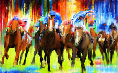 Jockeys Digital Art - Horse Racing by Lourry Legarde