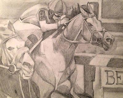 Animals Drawings - Horse Racing by Rosemary Bingay