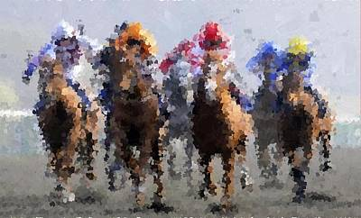 Painting - Horse Racing by Samuel Majcen