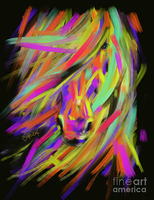 Painting - Horse Rainbow Hair by Go Van Kampen