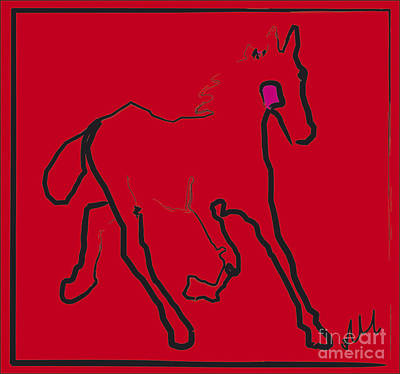 Painting - horse - Red filly by Go Van Kampen