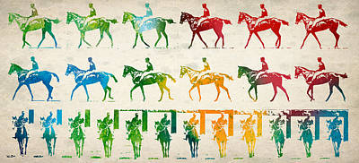 Horse Drawings Drawing - Horse Rider Locomotion by Aged Pixel