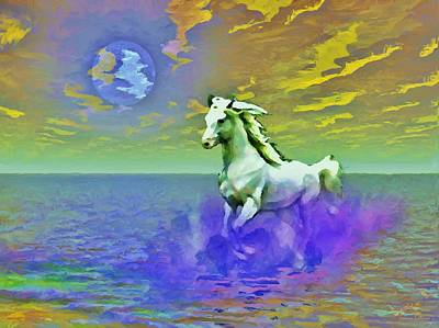 Horse Purse Painting - Horse Running In Ocean by Susanna  Katherine