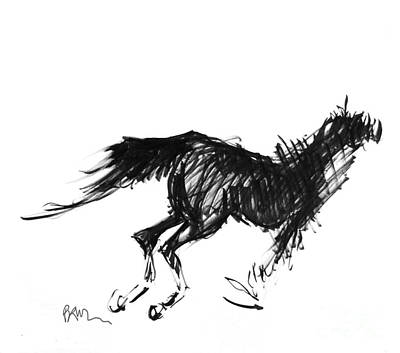Drawing - Horse Running Left by Paul Miller