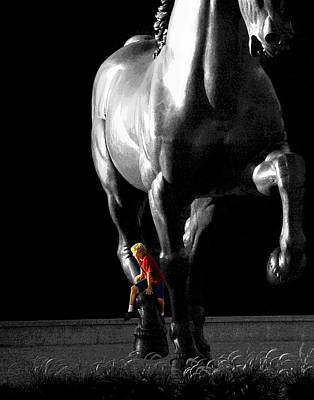 Photograph - Horse Sculpture With A Boy Dressed In Red by Randall Nyhof