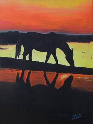 Horse Shadows Art Print by Mark Fluharty