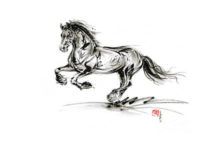 Horse Stallion Black Wild Animal 2014 Year Ink Painting Original by Mariusz Szmerdt