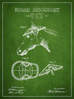 Horse Tack Drawing - Horse Sunbonnet Patent From 1870 - Green by Aged Pixel