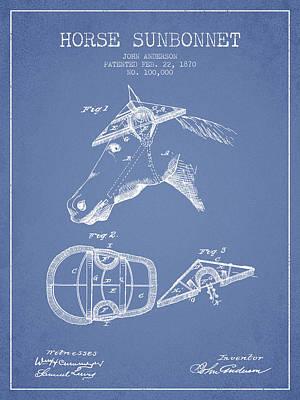 Animals Digital Art - Horse Sunbonnet patent from 1870 - Light Blue by Aged Pixel