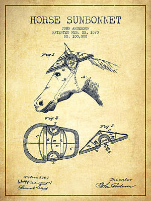 Horse Tack Drawing - Horse Sunbonnet Patent From 1870 - Vintage by Aged Pixel