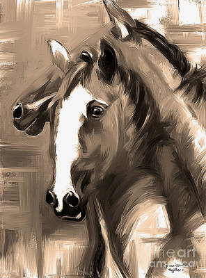 Painting - Horse Together 1 Sepia by Go Van Kampen