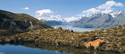 Horse Trekking Mt Cook New Zealand Art Print by Panoramic Images
