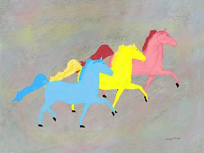 Painted Horse Trio Art Print