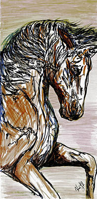 Animals Drawings - Horse Twins I by Erich Grant