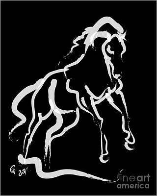 Horse White Runner Print by Go Van Kampen