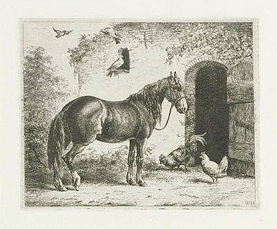Horse Shed Drawing - Horse With Halter, Christiaan Wilhelmus Moorrees by Christiaan Wilhelmus Moorrees