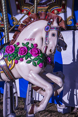 Horse With Roses Art Print
